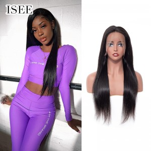 ISEE HAIR Straight Hair Lace Front Wig,Pre Plucked Natural Hair Liner with Baby Hair, 100% Human Virgin Hair Wigs