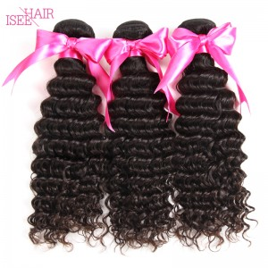 ISEE HAIR 10A Grade 100% Human Virgin Hair unprocessed Peruvian Deep Curly 3 Bundles Deal