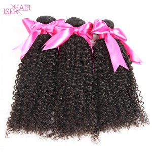 ISEE HAIR 10A Grade 100% Human Virgin Hair unprocessed Peruvian Kinky Curly 3 Bundles Deal