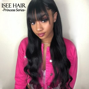ISEEHAIR Machine Made Sew In Wig Human Hair Body Wave Wigs Natural Color For Women Glueless Wigs