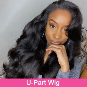 ISEEHAIR U Part Wig Human Hair Body Wave Upart Wigs Natural Color For Women Glueless wigs