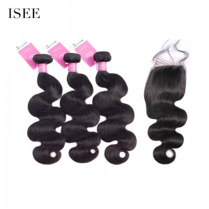ISEE HAIR Indian Body Wave 3 Bundles with Closure Unprocessed 9A Grade 100% Human Virgin Hair