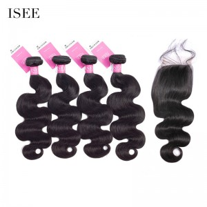 ISEE HAIR 9A Grade 100% Human Virgin Hair Indian Body Wave 4 Bundles with Closure Deal