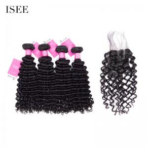 ISEE HAIR Mongolian Deep Curly 4 Bundles with Closure 9A Grade 100% Human Virgin Hair
