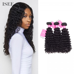 ISEE HAIR Mongolian Deep Curly 3 Bundles with Closure 9A Grade 100% Human Virgin Hair