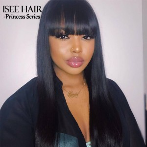 ISEEHAIR Machine Made Sew In Wig Human Hair Straight Wigs Natural Color For Women Glueless Wigs