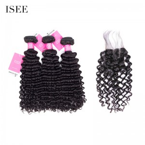 ISEE HAIR Malaysian Deep Curly 3 Bundles with Closure 9A Grade Unprocessed 100% Human Virgin Hair