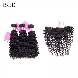 ISEE HAIR Mongolian Deep Curly 3 Bundles with Frontal 9A Grade 100% Human Virgin Hair unprocessed