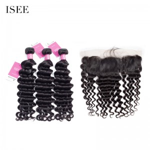 ISEE HAIR 9A Grade 100% Human Virgin Hair unprocessed Indian Loose Deep 3 Bundles with Frontal Deal