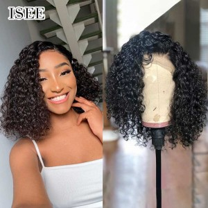 Short Curly Bob Wigs with Bouncy Curls, 100% Human Hair Curly Bob Lace Front Wigs | ISEE HAIR