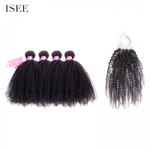 ISEE HAIR 9A Grade 100% Human Virgin Hair Mongolian Afro Curly 4 Bundles with Closure Deal