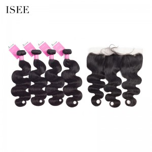 ISEE HAIR 9A Grade 100% Human Virgin Hair unprocessed Malaysian Body Wave 4 Bundles with Frontal Deal