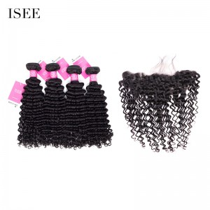 ISEE HAIR 9A Grade 100% Human Virgin Hair unprocessed Indian Deep Curly 4 Bundles with Frontal Deal