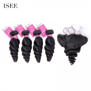 ISEE HAIR 9A Grade 100% Human Virgin Hair unprocessed Brazilian Loose Wave 4 Bundles with Frontal Deal