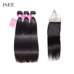 ISEE HAIR Indian Straight Hair 3 Bundles with Closure 9A Grade 100% Human Virgin Hair