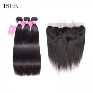 Malaysian Straight Hair 3 Bundles with Frontal ISEE HAIR 9A Grade 100% Unprocessed Human Virgin Hair