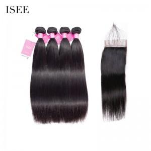ISEE HAIR Straight Hair 4 Bundles with Closure Deal 9A Grade 100% Human Virgin Hair Brazilian