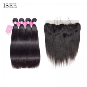 ISEE HAIR 9A Grade 100% Human Virgin Hair unprocessed Peruvian Straight Hair 4 Bundles with Frontal Deal