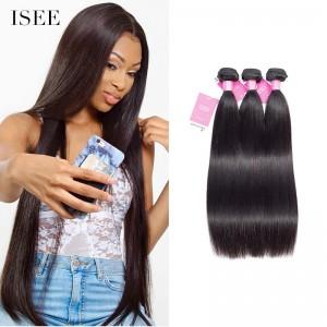 ISEE HAIR Brazilian Straight Hair 3 Bundles 9A Grade 100% Human Virgin Hair unprocessed