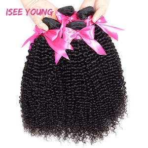 ISEE Young 9A Grade 100% Human Virgin Hair unprocessed Kinky Curly 3 Bundles with Frontal Deal
