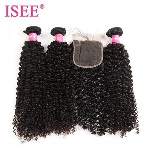 ISEE HAIR 10A Grade 100% Human Virgin Hair Mongolian Kinky Curly 3 Bundles with Closure Deal