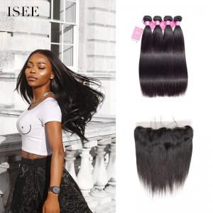 ISEE HAIR 9A Grade 100% Human Virgin Hair unprocessed Brazilian Straight Hair 4 Bundles with Frontal Deal
