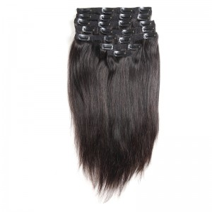 Silky Straight Clip Ins Hair Extensions 100% Human Hair Natural Black Color
