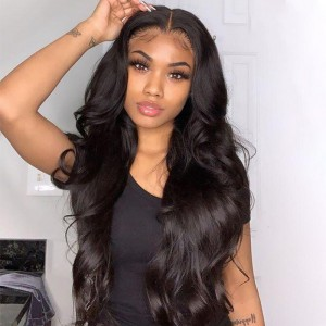 ISEEHAIR Body Wave Tpart Wig Human Hair Natural Black Color Lace Part Wig with Natural Hairline