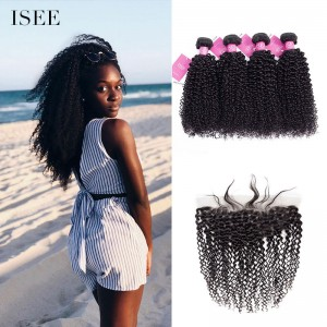 ISEE HAIR 9A Grade 100% Human Virgin Hair unprocessed Indian Kinky Curly 4 Bundles with Frontal Deal