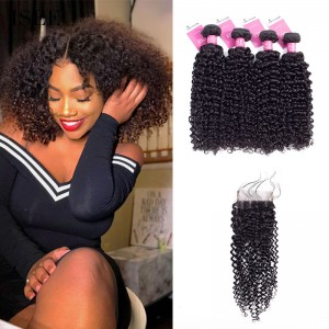 ISEE HAIR 9A Grade 100% Human Virgin Hair Peruvian Kinky Curly 4 Bundles with Closure Deal