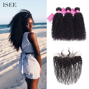 ISEE HAIR Mongolian Kinky Curly 3 Bundles with Frontal 9A Grade 100% Human Virgin Hair unprocessed