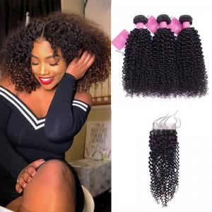 ISEE HAIR 9A Grade 100% Human Virgin Hair Malaysian Kinky Curly 3 Bundles with Closure Deal