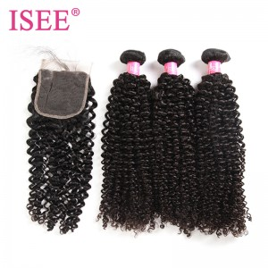 ISEE HAIR 10A Grade 100% Human Virgin Hair Peruvian Kinky Curly 3 Bundles with Closure Deal