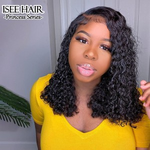 ISEEHAIR 4*4 Lace Closure Wig Bob Cut Deep Curly Lace Wigs