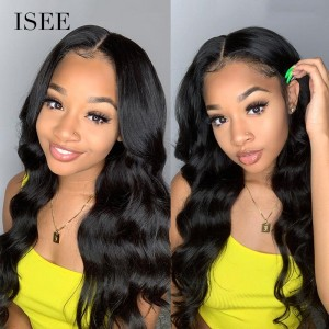 ISEE HAIR Body Wave Lace Front Wig,Pre Plucked Natural Hair Liner with Baby Hair, 100% Human Virgin Hair Wigs