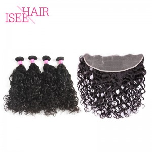 ISEE HAIR 9A Grade 100% Human Virgin Hair unprocessed Indian Natural Wave 4 Bundles with Frontal Deal