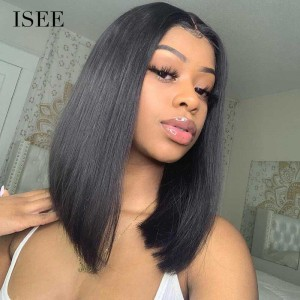 ISEEHAIR A-Line Bob Straight 100% human virgin hair lace frontal wig preplucked