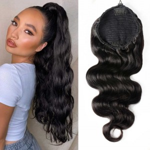 Drawstring Ponytail Extension Hair Body Wave Ponytail With Clip In 100% Human Hair