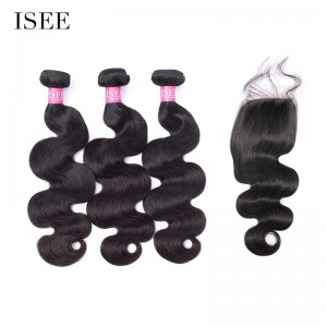 ISEE HAIR 10A Grade 100% Human Virgin Hair Body Wave 3 Bundles with Closure Deal