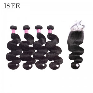 ISEE HAIR 10A Grade 100% Human Virgin Hair Body Wave 4 Bundles with Closure Deal