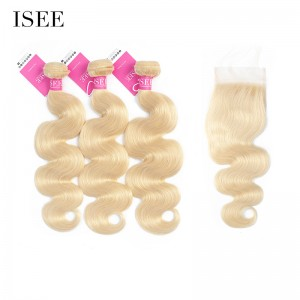ISEE HAIR 613 Blonde Human Virgin Hair body wave Closure with 3 or 4 Bundles per pack