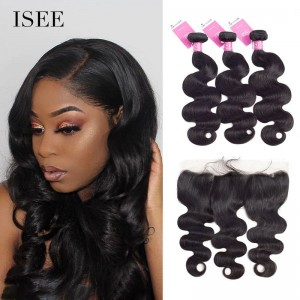 ISEE HAIR Body Wave Bundles with Frontal 9A Grade 100% Human Virgin Hair unprocessed