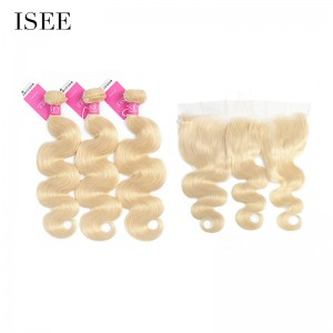 ISEE HAIR 613 Blonde Human Virgin Hair Body Wave Frontal with 3 or 4 Bundles Per Pack