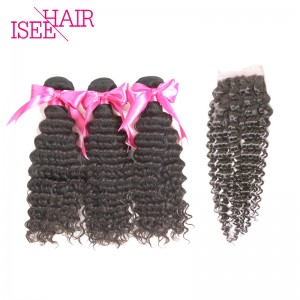 ISEE HAIR 10A Grade 100% Human Virgin Hair Mongolian Deep Curly 3 Bundles with Closure Deal