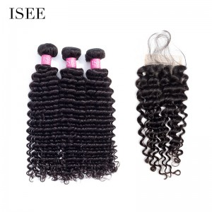 ISEE HAIR 10A Grade 100% Human Virgin Hair Deep Curly 3 Bundles with Closure Deal