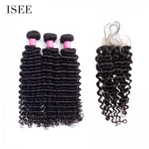 ISEE HAIR 10A Grade 100% Human Virgin Hair Deep Curly 3 Bundles with Closure Deal