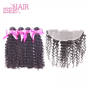 ISEE HAIR 9A Grade 100% Human Virgin Hair unprocessed Peruvian Deep Curly 4 Bundles with Frontal Deal