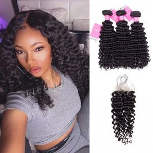 ISEE HAIR Deep Curly Bundles with Closure 9A Grade 100% Human Virgin Hair