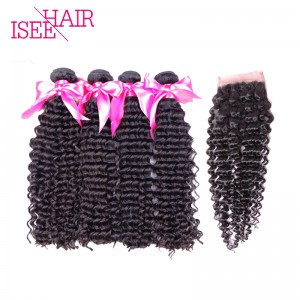 ISEE HAIR 10A Grade 100% Human Virgin Hair Peruvian Deep Curly 4 Bundles with Closure Deal