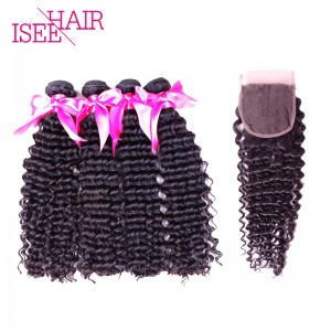 ISEE HAIR 10A Grade 100% Human Virgin Hair Malaysian Deep Curly 4 Bundles with Closure Deal